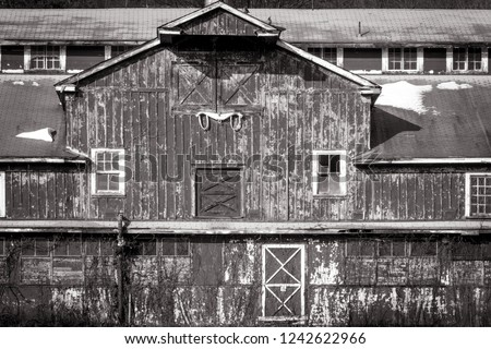 Barn restored at Lusscroft Farm at High Point State Park, NJ, on a sunny fall day, black and white