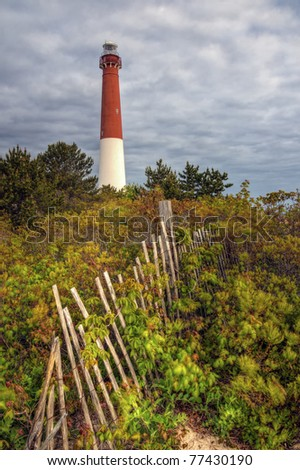 Barnegat Lighthouse as viewed from the dunes.