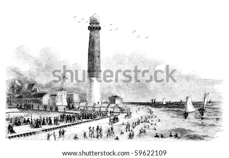"""Barnegat Lighthouse in Atlantic City, New Jersey. Illustration originally published in Hesse-Wartegg's """"Nord Amerika"""", swedish edition published in 1880. The image is currently in public domain."""