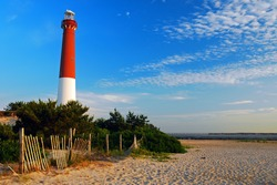 Barnegat Lighthouse stands on the northern end of Long Beach Island, on the Jersey Shore