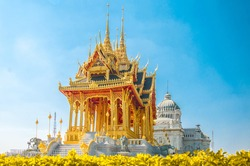 Barom Mangalanusarani Pavillian with field of flowers in the area of Ananta Samakhom Throne Hall with field of flowers in Thai Royal Dusit Palace, Bangkok, Thailand.
