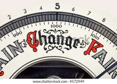 barometer; detail view showing 'Change'