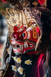 Barong, a masked figure, usually represents an unidentified creature called keket, who appears during a celebration in Bali, Indonesia.
