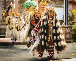 barong and keris dance is a religious show in Bali based on the great Hindi epics of Ramayana