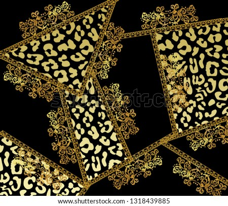 Baroque and antique pattern.Animal print.Leopard print.
