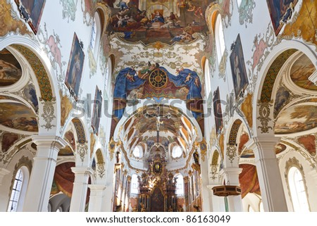 Baroque Church in Biberach, Germany. Highly ornate place of worship with elaborate ceiling frescos.