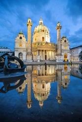 Baroque church Karlskirche in Vienna Austria.