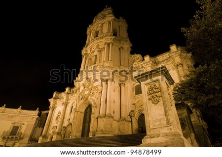 baroque church, modica by night, ragusa, sicily, baroque, unesco