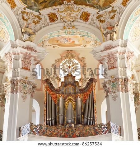 Baroque church organ in Steinhausen, Germany. - stock photo