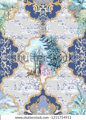 Baroque damask pattern, delicate mechanism, delicate shading, elegant pattern,European oil painting