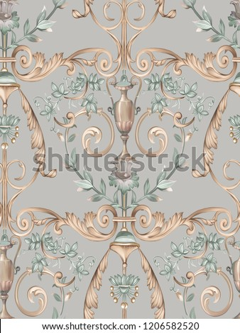Baroque damask pattern, delicate mechanism, delicate shading, elegant pattern,Gray background,Golden tumbleweed