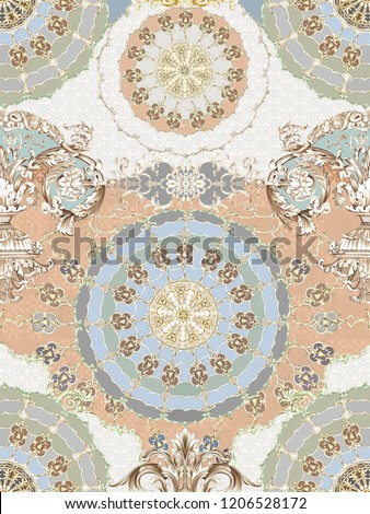 Baroque damask pattern, delicate mechanism, delicate shading, elegant pattern,saffron yellow,Golden tumbleweed