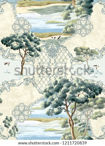 Baroque damask pattern, delicate mechanism, delicate shading, elegant pattern,Trees and lakes