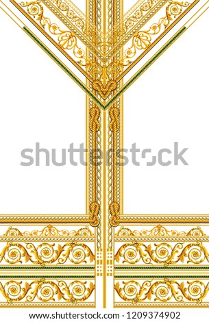 Baroque dizayn gold frame retro Stok fotoğraf ©