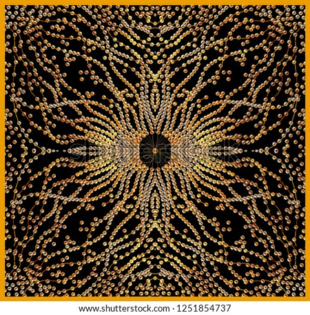 baroque gold and pearl scarf design