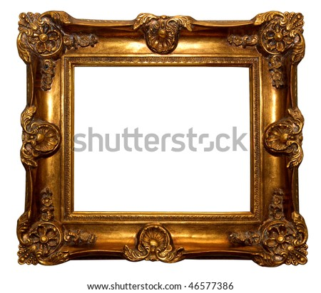 Baroque golden picture frame isolated over white background