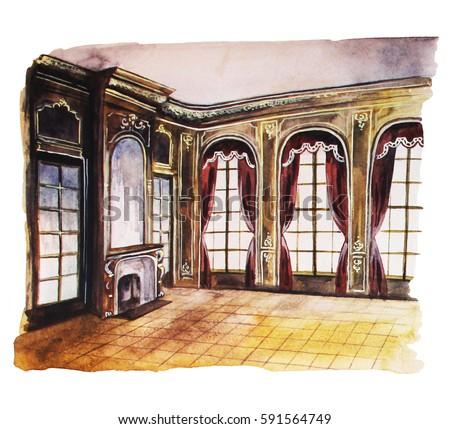 Baroque hall, hand drawn watercolor illustration