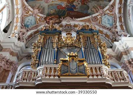 Baroque Pipe Organ in St. Jakobs Dom (St. James Cathedral) in Innsbruck, Austria