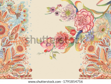 Baroque Rococo style wallpaper design, European background pattern, suitable for textile.