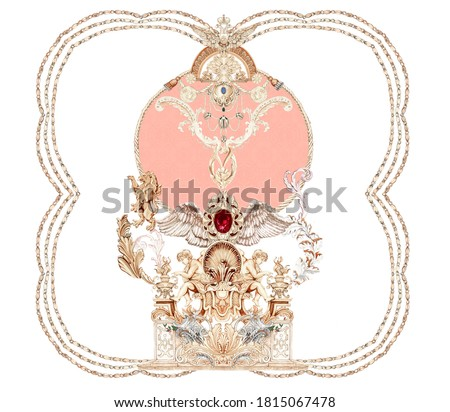 Baroque Rococo style wallpaper design,European background pattern, suitable for textile.