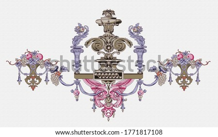 Baroque Rococo style wallpaper design, European background pattern, suitable for textile, clothing and bottom design