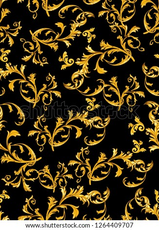 Baroque seamless pattern with golden leaves.