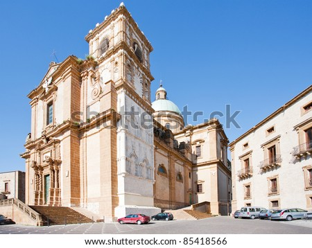 baroque style Cathedral in sicilian town Piazza Armerina