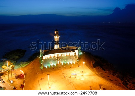 Barra Lighthouse, famous tourist point in Salvador de Bahia, Brazil