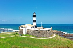 Barra Lighthouse, Salvador, Bahia, Brazil. Panorama Landscape. Tropical Travel Destination. Barra Lighthouse. Salvador, Bahia, Brazil. Aerial landscape. Barra Lighthouse Aerial View, Salvador, Bahia.