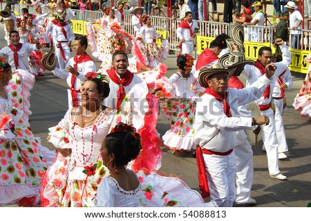 BARRANQUILLA - FEB 15: Once a year Colombia hold there carnival street parade. Dancers enjoy the moment. February 15, 2010 Barranquilla Colombia