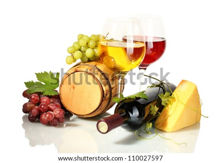 barrel, bottle and glasses of wine, cheese and ripe grapes isolated on white