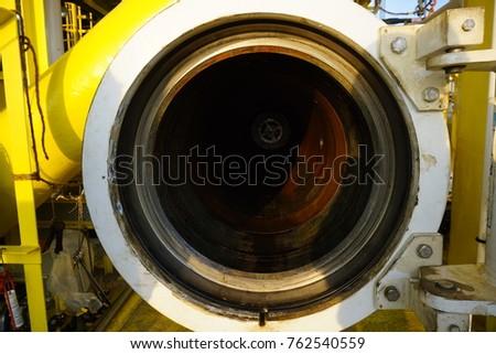 Barrel launcher door opened for gas pipeline inspection and cleaning at offshore drilling platform, Baronia Platform, Malaysia. #762540559