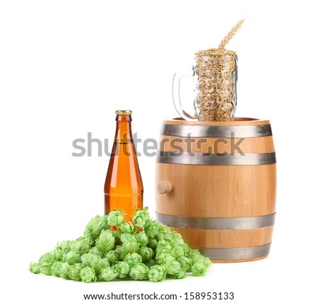 Barrel mug with barley hop and bottle of beer. Isolated on a white background.