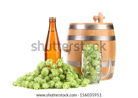 Barrel mug with hop and bottle of beer. Isolated on a white background.