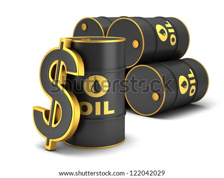 Barrel of oil and dollar sign on a white background.
