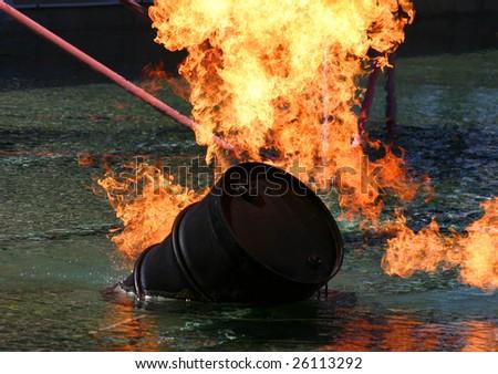Barrel of oil on fire