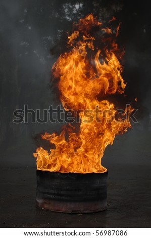 Barrel of oil on fire, this is very hot