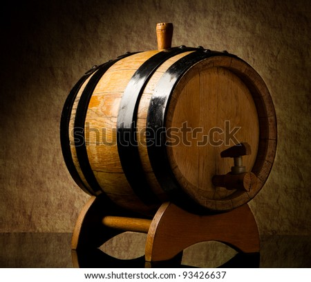 Barrel on a old stone