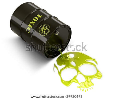 Barrel throwing toxic liquid (skull shaped pool)
