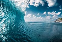 Barrel wave in ocean. Breaking blue wave