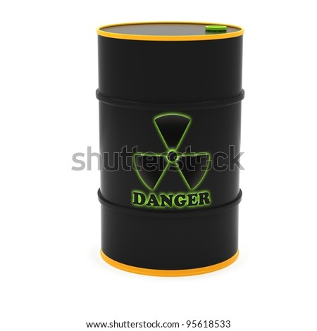 Barrels for the storage of radioactive substances on a white background.