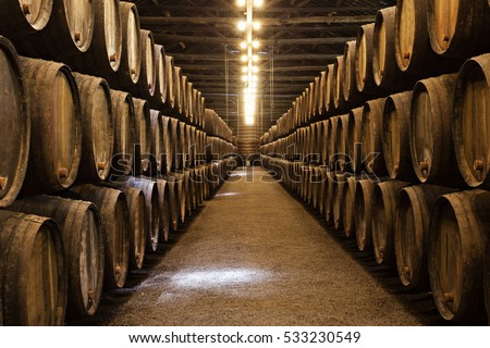 Shutterstock Barrels in the wine cellar, Porto, Portugal