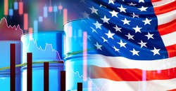 Barrels of oil next to the flag of the USA. The concept is petrolium production in the United States. Falling US oil prices. Charts show a decline. Index of American companies XOI. Amex oil index