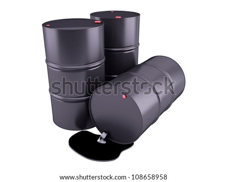 Barrels of oil on white background 3D render clipart