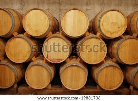 barrels of wine in storage