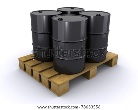 barrels on the wooden pallet