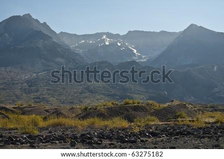 Barren landscape around Mount Saint Helens volcano