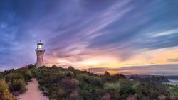Barrenjoey Lighthouse NSW Australia during sunset
