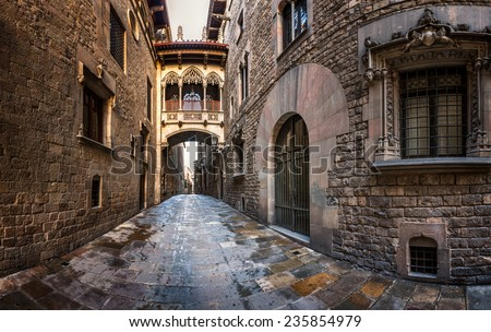 Shutterstock Barri Gothic Quarter and Bridge of Sighs in Barcelona, Catalonia, Spain