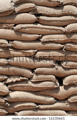 Barricade of heavy sandbags at the military training center